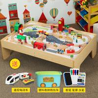 木质火车轨道大号游戏桌兼容小米brio托马斯火车轨道男孩玩具定制 环城大型轨道桌 官方标配