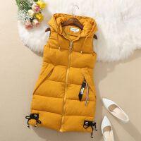 秋冬韩版女装羽绒棉马甲中长款大码显瘦无袖棉衣马夹背心外套