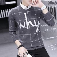 秋冬男士毛衣假两件衬衫领针织衫潮韩版休闲格子青年衬衣领打底衫