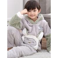 儿童法兰绒睡衣秋冬季珊瑚绒男童家居服中大童小男孩套装