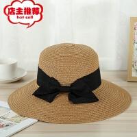 新款夏季草帽女士 韩版SL蝴蝶结遮阳帽子百搭时尚渔夫帽盆帽批发