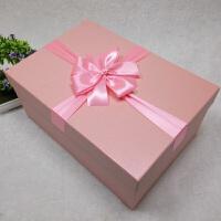 超大号礼品盒长方形礼盒粉红色婚纱高跟鞋西装生日礼物包装盒定做 粉红色 粉红色丝带