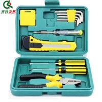 11件套工具箱/组合工具/工具套装/工具组合 内六角扳手 维修工具 螺丝刀 工具钳 美工刀