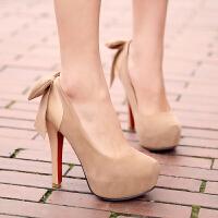 彼艾2015超高跟鞋14cm高防水台夜店性感蝴蝶结两穿单鞋细跟超高女鞋婚鞋子