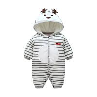 婴儿冬装连体衣夹棉厚款爬服女宝宝0-6个月男哈衣冬季