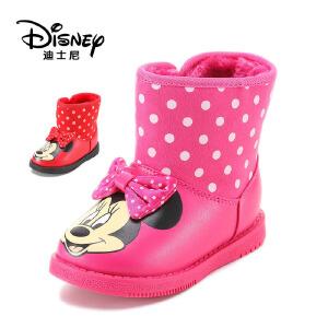 【达芙妮集团】迪士尼 冬款米妮卡通女童加绒保暖童鞋短筒靴