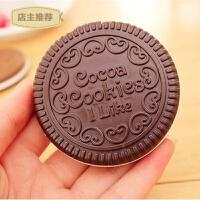 家用韩国便携带巧克力饼干镜 折叠化妆镜 化妆随身镜子 美容镜带梳子SN5434