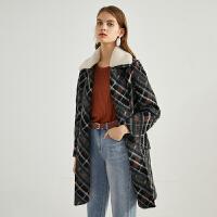 伊芙丽新款格纹宽松直筒毛呢外套女中长款气质大衣女118A174301