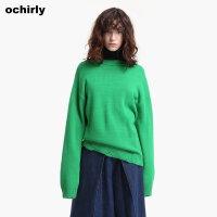 [9月12日3件7折到手价:94元]ochirly欧时力新女装纯色挖空磨破针织毛衣女宽松1JH3037490