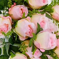 单支仿真玫瑰花束绢花婚庆客厅茶几装饰假花摆放花艺 粉红色 10头玫瑰:粉红色