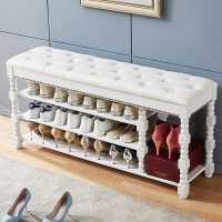 美式入门软包可坐实木换鞋凳储物家用门口客厅鞋架穿鞋柜门厅
