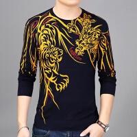 秋季新品长袖T恤衫薄款羊绒打底个性虎头印花毛衣男宽松男版上衣t 黄色 2001