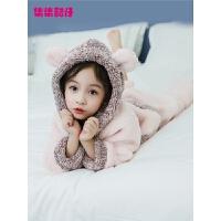 女童加厚睡衣冬新款儿童珊瑚绒家居服两件套中大童女孩法兰绒套装