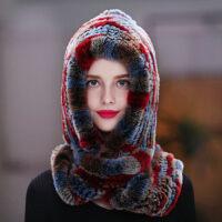 獭兔毛帽子女冬天韩版户外保暖加厚冬季骑车防风围巾一体皮草帽子