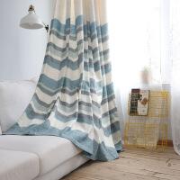 棉麻窗帘成品遮光客厅卧室落地窗北欧文艺条纹拼接透光不透人 微波荡漾(蓝色)窗帘