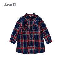 专柜同款安奈儿女童裙翻领2020秋装新款韩版儿童裙子纯棉中大童长袖格子裙2