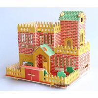 3d立体拼图玩具木质房子建筑模型成人儿童益智力拼装假日别墅