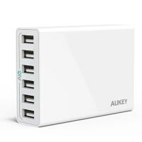 【包邮】Aukey 6口USB充电器 苹果iphone6三星ipad智能充电器 iPhone7充电器 iPhone 7plus 多口充电头 安卓充电器 充电器头