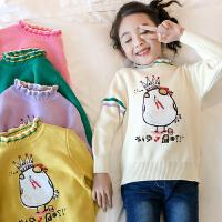 女童童装毛衣2018秋装新款套头洋气打底6岁7儿童8中大童9针织韩版