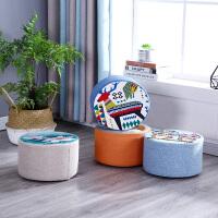 凳子懒人创意实木家用板凳小儿童矮凳网红客厅卧室换鞋布艺圆凳子
