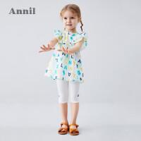 【活动价:153.3】安奈儿童装女小童衬衣套装纯棉短袖2020新款宝宝套装夏纯棉两件套