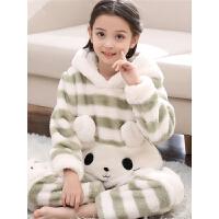 儿童法兰绒睡衣女童秋冬季厚款中大童公主宝宝家居服小孩套装