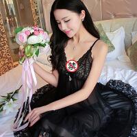 性感睡衣诱惑 蕾丝透明大码吊带情趣内衣火辣短裙 LZ1166黑色 160(M)