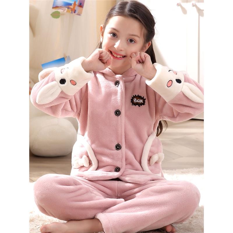 儿童珊瑚绒睡衣女童秋冬季法兰绒长袖加厚套装公主女孩大童家居服