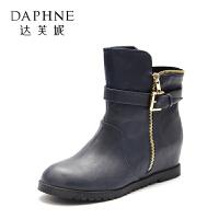 Daphne/达芙妮旗下鞋柜 冬女靴欧美短筒平跟切尔西靴