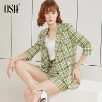 【2件5折】欧莎小西装套装短裤两件套2019新款夏时尚牛油果绿职业装气质减龄