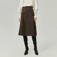 【大牌日】【活动到手价:150】【商场同款】伊芙丽2020新款春装高腰格子长裙半身裙1BC140321