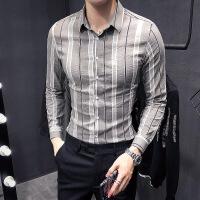 衬衫男学生新款春秋季条纹衬衫男长袖韩版修身潮流商务休闲男士衬衣青年寸衫