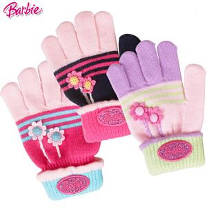 芭比公主儿童手套冬款保暖手套女童宝宝五指分指针织手套