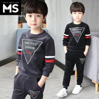 童装男童冬装套装2018新款中大童儿童男孩金丝绒卫衣两件套韩版潮