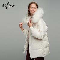 伊芙丽新款冬装宽松白鸭绒白色中长款连帽羽绒服女1AA980771