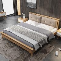 新款北欧实木床主卧双人床简约现代橡木床1.51.8米婚床软靠家具