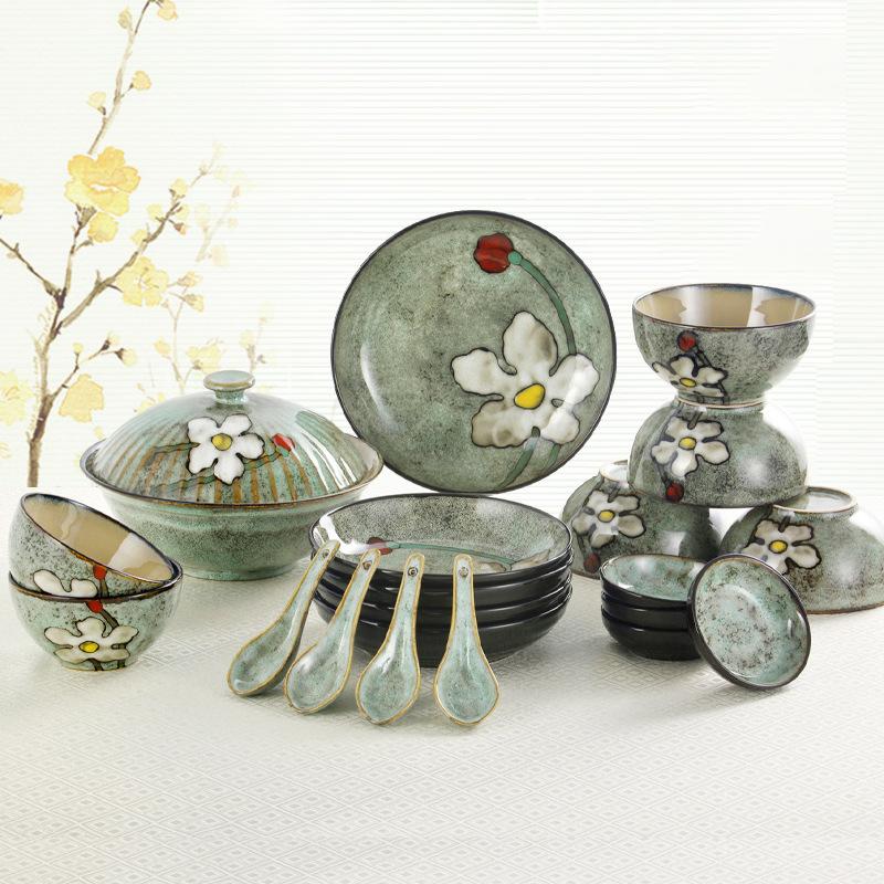 手绘韩式餐具套装中式家用碗碟陶瓷碗盘组合釉下彩20头  20件