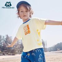 【618年中庆 2件4折价:40】迷你巴拉巴拉男童短袖T恤2020夏新款手绘T恤时尚复古凉爽夏装T恤