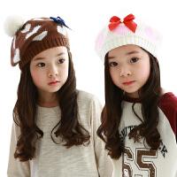 韩国kk树宝宝帽子秋冬保暖儿童帽子可爱绒球针织帽淑女韩版女童帽