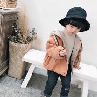 男童外套2019春装新款 韩版1-3-5岁儿童加厚卫衣外套宝宝秋冬上衣 红色+浅卡其双面穿 100cm