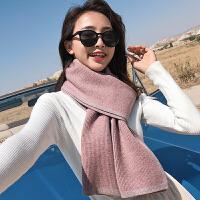 软妹简约韩版纯色针织围巾女秋冬季百搭披肩加厚保暖学生围脖