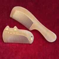 牛角梳子天然 防脱发 儿童宝宝牛角梳子天然可爱女脱发小密齿随身专用按摩梳刻字