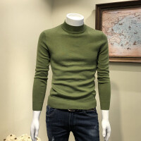 秋冬半高领毛衣男士韩版修身中领套头针织打底衫纯色线衣毛衫潮男