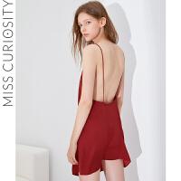 好奇蜜斯性感睡衣女春秋薄款睡裙女夏美背吊带网红舒适可外穿