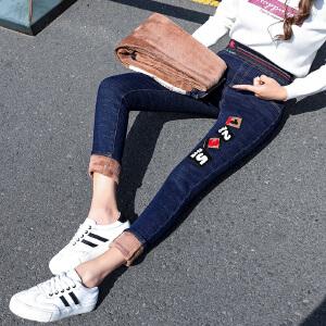 港味风高腰加绒加厚牛仔裤女小脚裤弹力修身显瘦长裤3076#