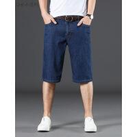 夏季牛仔短裤男士五分裤弹力宽松大码中裤子男青年直筒马裤5分裤