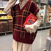 冬装日系慵懒V领格子百搭宽松可爱无袖马甲背心针织毛衣女