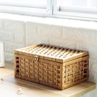 带锁收纳盒藤编桌面收纳箱家用简约长方形有盖内衣零食编织箱子
