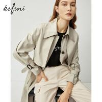 伊芙丽风衣女2020新款春装韩版工装风英伦风单排扣外衣大衣外套女