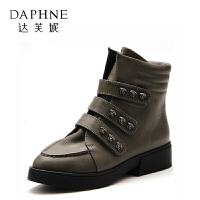 【领券下单减150元】Daphne/达芙妮旗下鞋柜 冬女靴欧美短筒平跟切尔西靴女